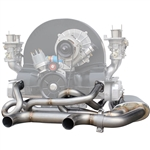 "3510 A-1 Sidewinder Ceramic Coated Exhaust (1 1/2"") with Dual Tip Muffler (fits Sedan or Ghia)"