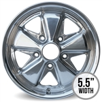 4812 Polished Flat 4 - 911 Style Wheel 15 x 5.5 (5 x 130mm) 5'' Back Spacing