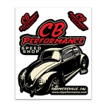 7993 Stickers - CB Performance Speed Shop Bug (Red Letters)