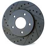 4160 Black Cross-Drilled & Slotted Rotor - Front Driver Side (Left)
