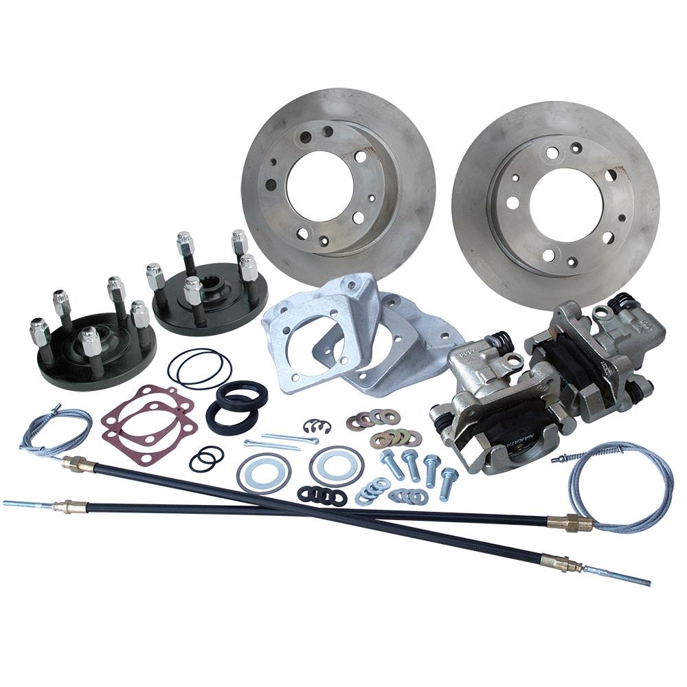 4357 Rear Disc Brake Kit with Parking Brakes, fits short swing axle to '67  - Porsche Alloy 5 Lug bolt pattern