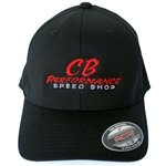 Black Flexfit Hat - Red Speed Shop Logo (specify size)