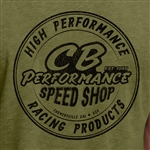 CB Speed Shop Round Logo T-Shirt - Military Green (specify size)